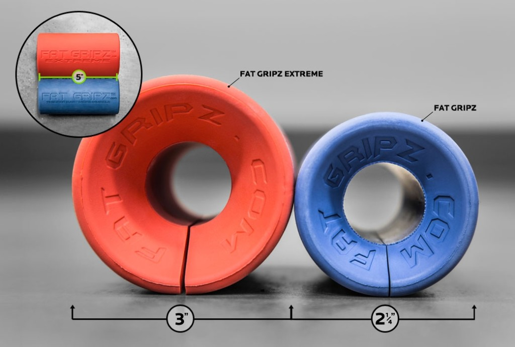 Fat Gripz Extreme (red) compared to the smaller Fat Gripz (blue).